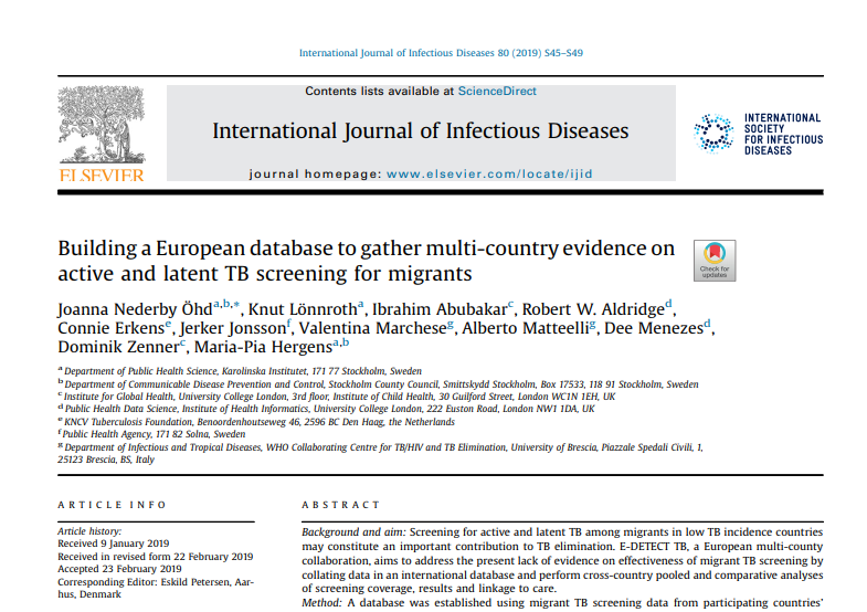European migrant TB screening database featured inIJID