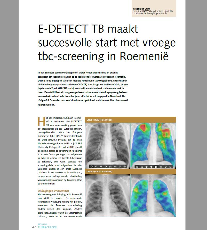E-DETECT featured in special edition of Tegen deTuberculose